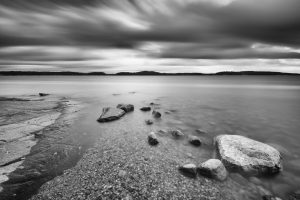 long exposure black and white landscape rocks and water