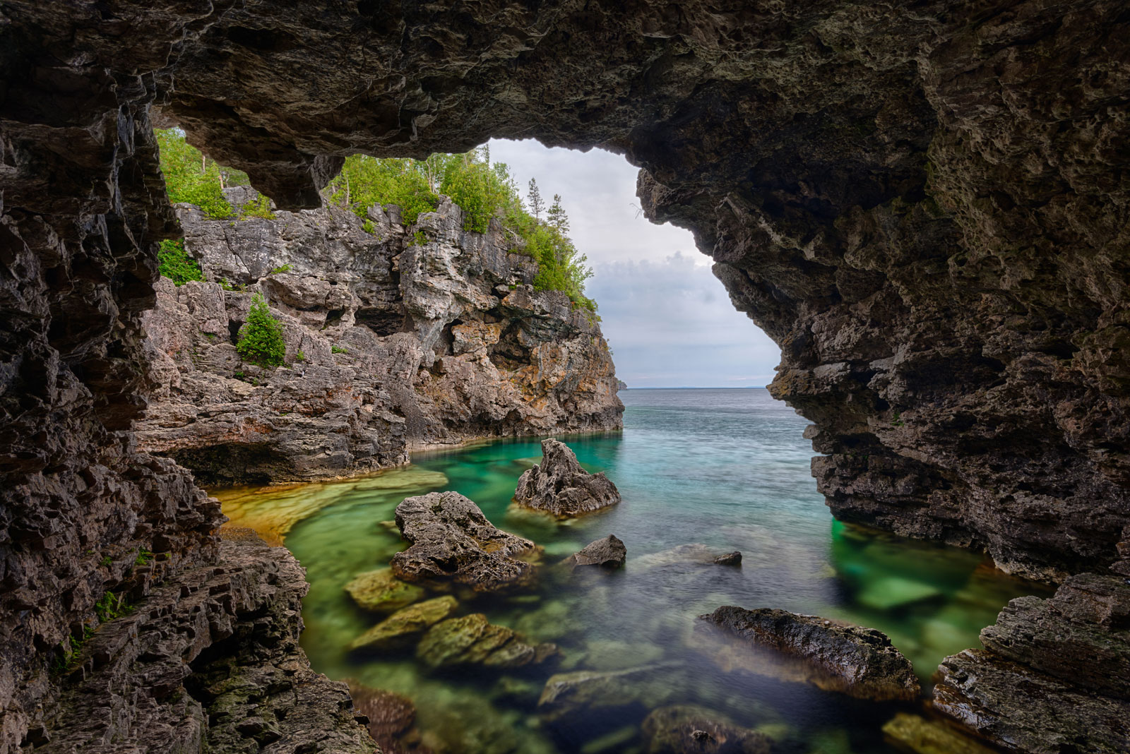 view from inside the grotto in bruce peninsula national park