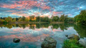sunset at toogood pond in unionville ontario