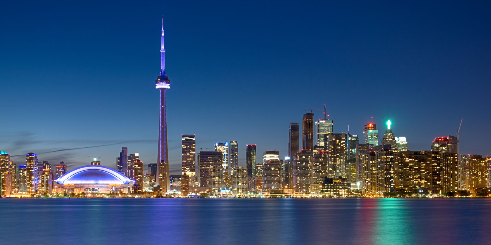 The distinct city line of Toronto at night cityscape landscape photography