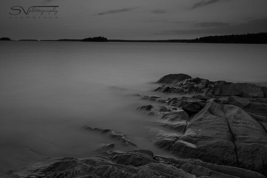 Rocks in Water After Sunset Nikon D800 w/ 16-35 f/4 @ 35mm, ISO 100, 4 min at f/8 Lee Filters Big Stopper, 0.9 ND Hard Grad, B+W Polarizing Filter