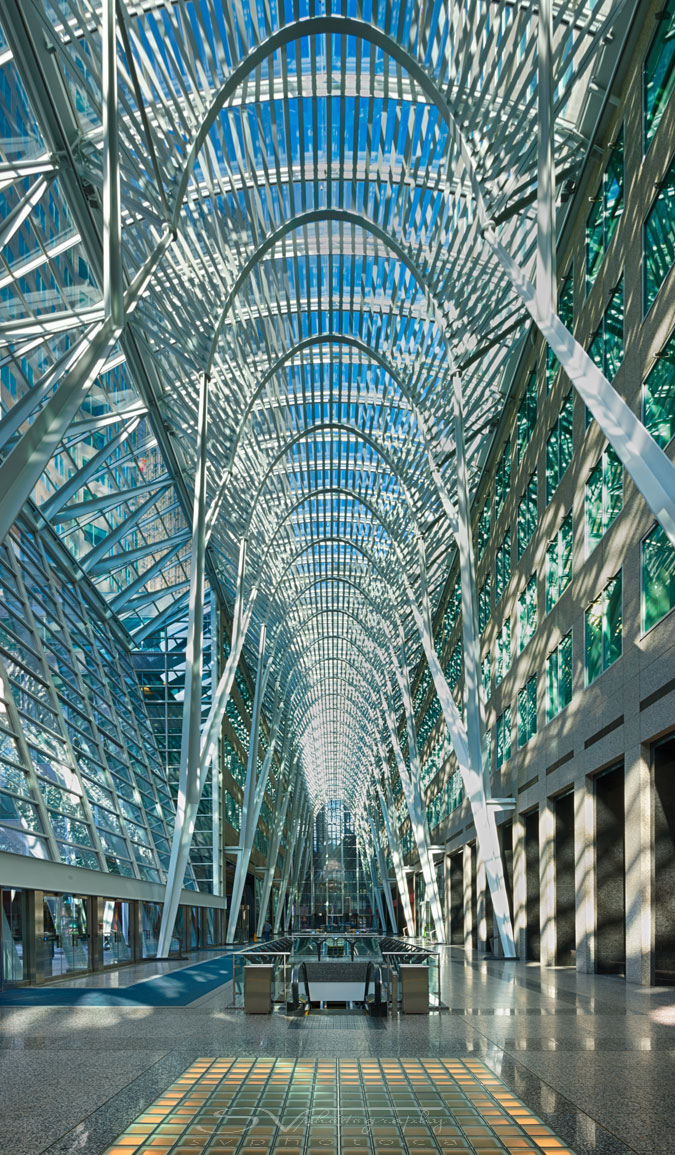 Allen Lambert Galleria, Brookfield Place, TorontoArchitect: Santiago CalatravaCompleted: 1992Captured at the same location as the previous picture, just facing the opposite direction.  This picture was not entered into the contest due to the contest rules saying that you cannot submit the same Photo, or substantially the same Photo, more than one time.  I chose to enter the previous picture instead of this one on the advice of my brother, the architect, who said the previous picture was more architectonic...yes, he said that.  I didn't even bother to look it up.