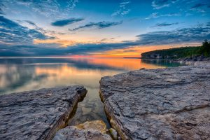 sunrise over tranquil waters storm haven bruce peninsula national park